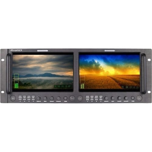 JVC DT-X92HX2 ProHD DUAL 9-IN RACK DISPLAY MONITOR (3G-SDI, HDMI, COMPOSITE) Front