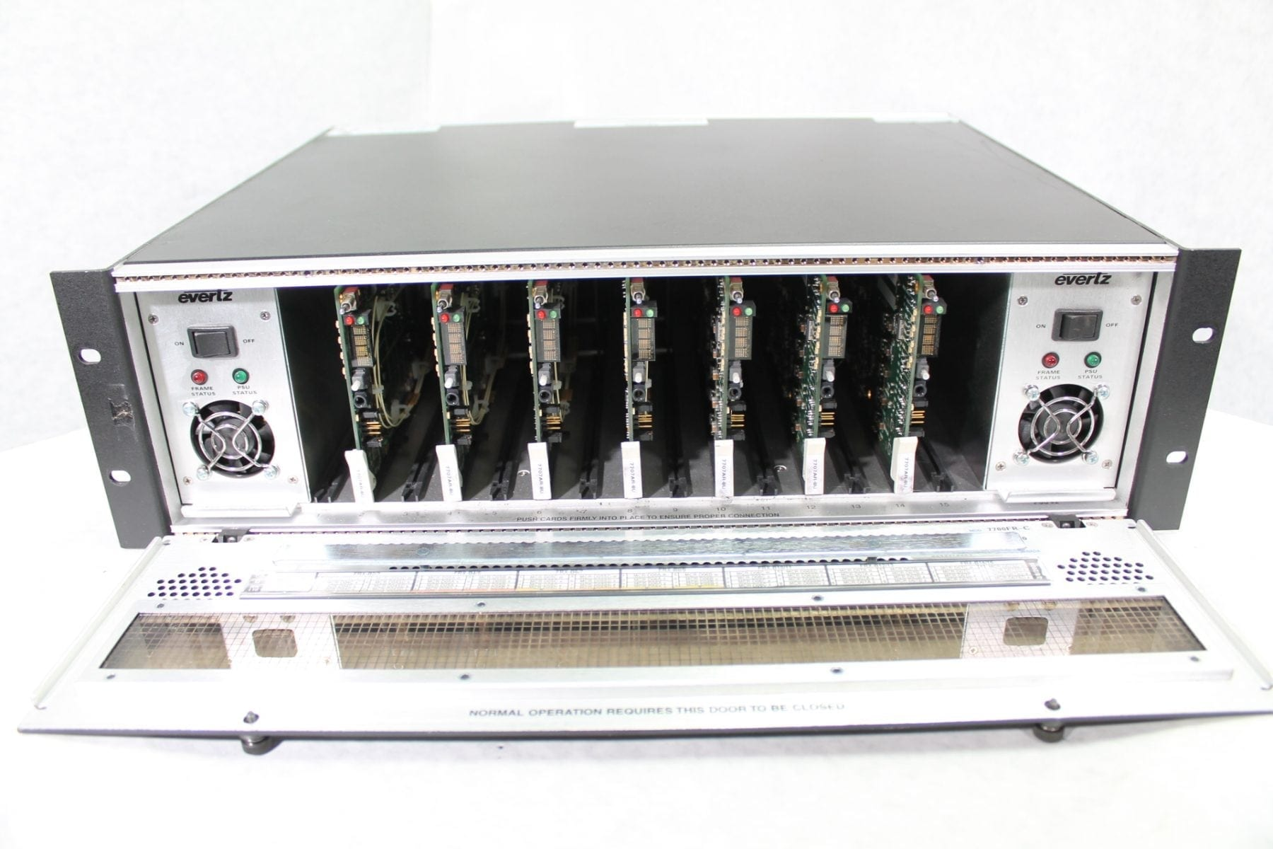 Evertz 7700FR-C 3U Multiframe w/ (2) Power Supplies & (7) 7707AR-8U Cards Front