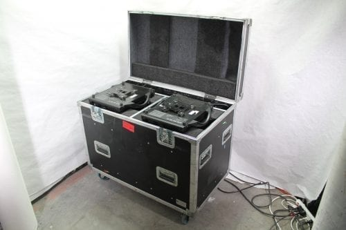 Clay Paky Alpha Spot HPE 300 Moving Light Pair in Road Case Bottoms Up