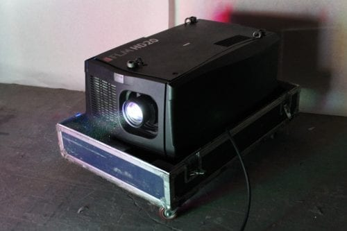 Barco FLM HD20 20k Lumens 1080p HD DLP Projector (5415 Hrs) in ATA Case - 28 Lamp Hrs + Spare Lamp (1C) Front