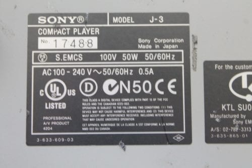 Sony J-3 Component 901 Digibeta Betacam SP / SX / MPEG Compact Player w/ ATA Case - 1016 Drum Hrs (1b) Label