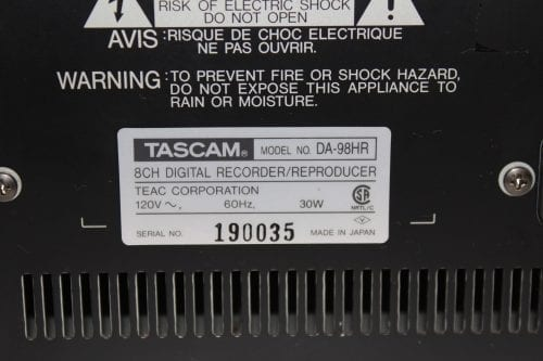 Tascam DA-98HR DTRS 24-Bit Modular Digital Multritrack Recorder w/ (2) IF-AN98HR A/D Boards (1b) Label