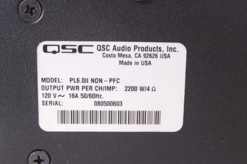 QSC Powerlight PL6.0 6000W Professional Power Amplifier Label