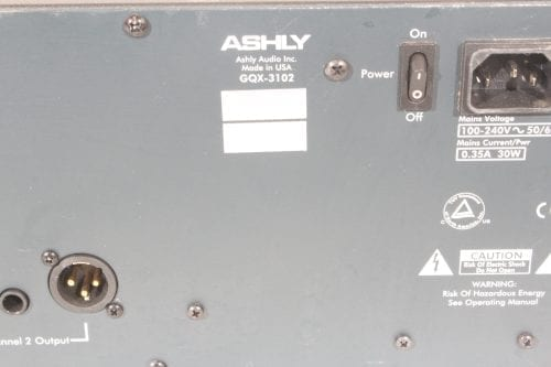 Ashly GQX-3102 - Dual Channel 31-Band Graphic Equalizer - Label