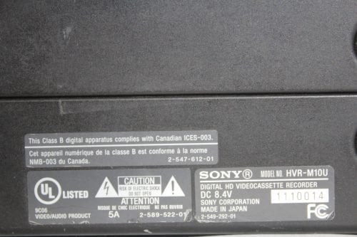 Sony HVRM10U - Professional Video Cassete recorder/player - Label