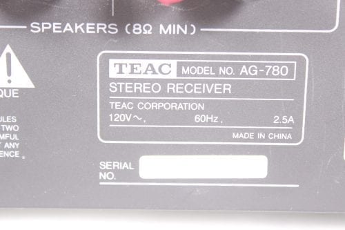 Teac AG 780 200 Watt Stereo Receiver Back2