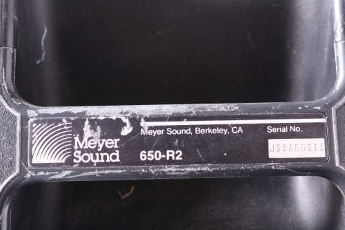 Meyer Sound 650 - R2 - Subwoofer Housing Only - No Subs Included - Label