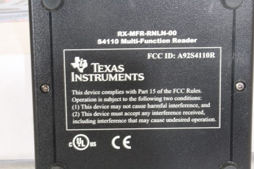 S4100 MFR Evaluation Kit - Texas Instrument - Label
