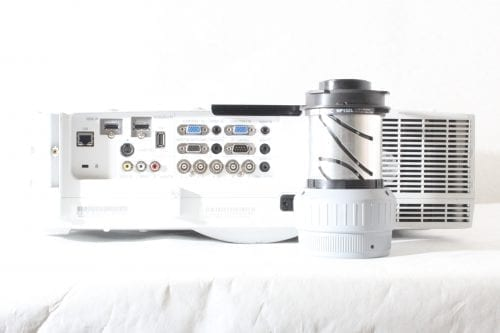 NEC PA550W Large Venue Projector + NP13ZL Zoom Lens - Back and Lens