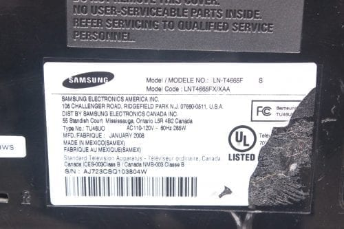 "Samsung LN-T4665F 46"" 1080p HDTV LCD TV Label"