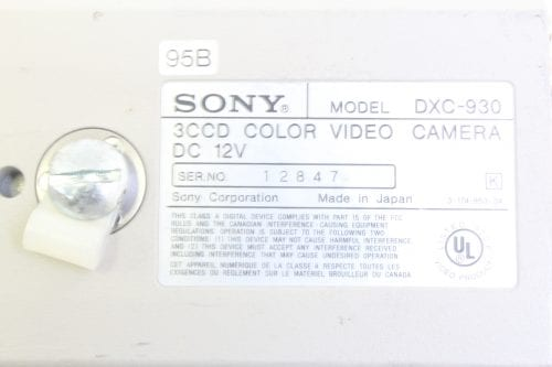 Sony DXC-930 3-CCD Color Video Camera - Label