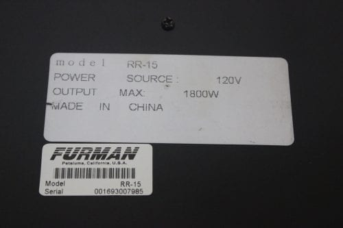 FURMAN RACKRIDER - 15 AMP POWER CONDITIONER - RR15 - SPECS