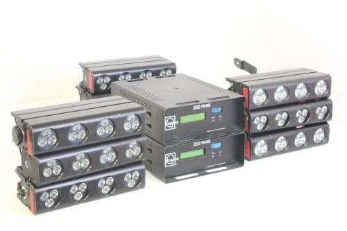 Chroma Q Colorblock DB4 - Lot of 9 + 2 PSU w/ Wheeled Case (Parts Only) - Side 1