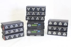 Chroma Q Colorblock DB4 - Lot of 9 + 2 PSU w/ Wheeled Case (Parts Only) - Main