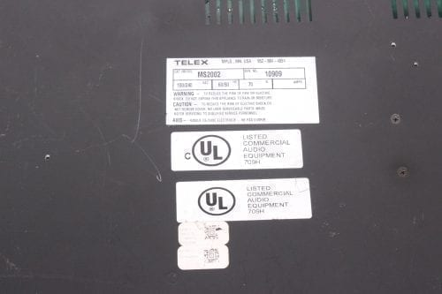 TELEX MS2002 - MASTER STATION AND POWER SUPPLY - LABEL