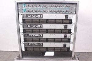 CROWN Micro 600 (2) Crown Micro 2400(2) ASHLY XR1001 (2) - AMP RACK w/CASE -MAIN