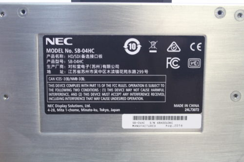 NEC SB-04HC Display Internal 3G/HD/SD-SDI Input Card tag1