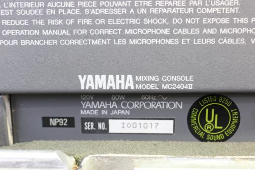 Yamaha Mc2404 II Audio Mixing Console 24 Channels w/ Case tag