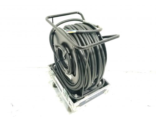 Canare R460S Brake Lock Cable Reel w/ 250 ft. BNC Breakout Cable & Case Side1