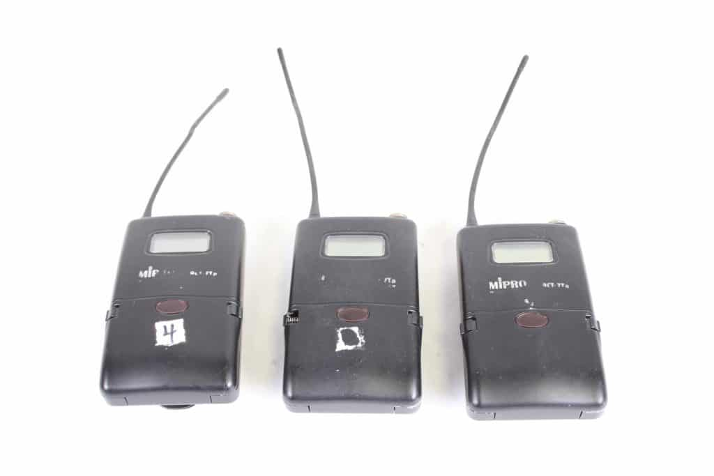 ACT-7Ta Wideband bodypack Transmitter LOT OF 3 - FOR PARTS - FREQ (2) 5US1; (1) 5US2 - MAIN