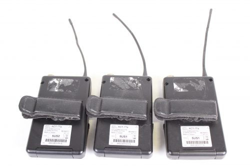 ACT-7Ta Wideband bodypack Transmitter LOT OF 3 - FOR PARTS - FREQ (2) 5US1; (1) 5US2 - BACK2