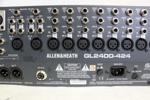 Allen & Heath GL2400-424 Mixer 4 bus 22 mono 2 stereo 6 aux w/Case - MAIN