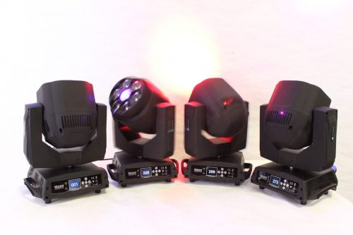 Blizzard Lighting Stiletto i7 Led Moving Lights (4) in Wheeled Fitted Road Case - on2