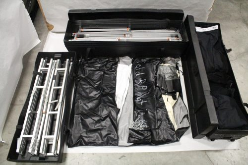 Screenworks 9' x 16' TRUSS HD Projection Screen & Dress Kit w/ Front & Rear Surfaces & Legs - Cranks (3 Cases) Main1