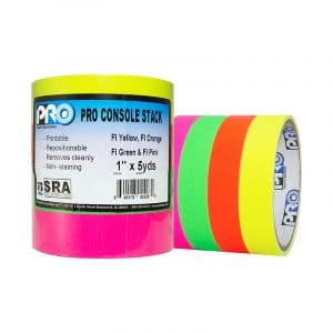 Pro Tapes Pro® Console Stacks Fluorescent - 4 Color Stack: Fl. Green, Fl. Orange, Fl. Pink, Fl. Yellow, 1""