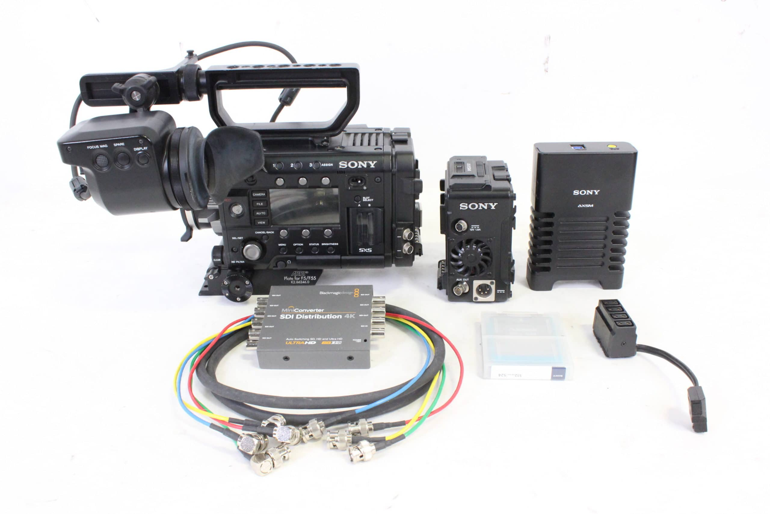Sony PMW-F55 Solid State Memory Camcorder Kit w/ Sony DVF-EL100 Viewfinder / AXS-R5 Recorder / AXS-CR1 Reader & Blackmagic SDI Distribution 4K w/ Custom Case main