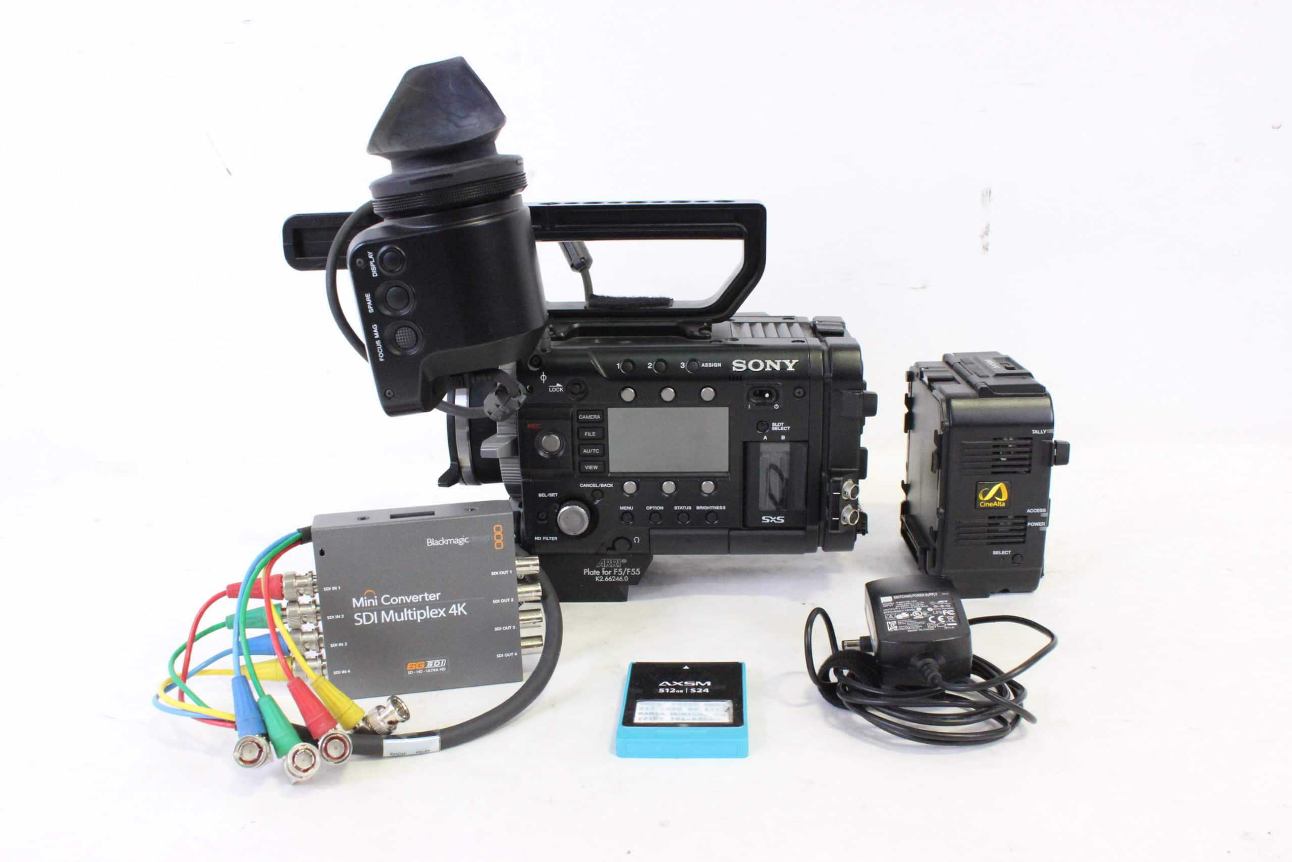 Sony PMW-F55 Solid State Memory Camcorder Kit w/ Sony DVF-EL100 Viewfinder / AXS-R5 Recorder & Blackmagic SDI Distribution 4K w/ Custom Case Main