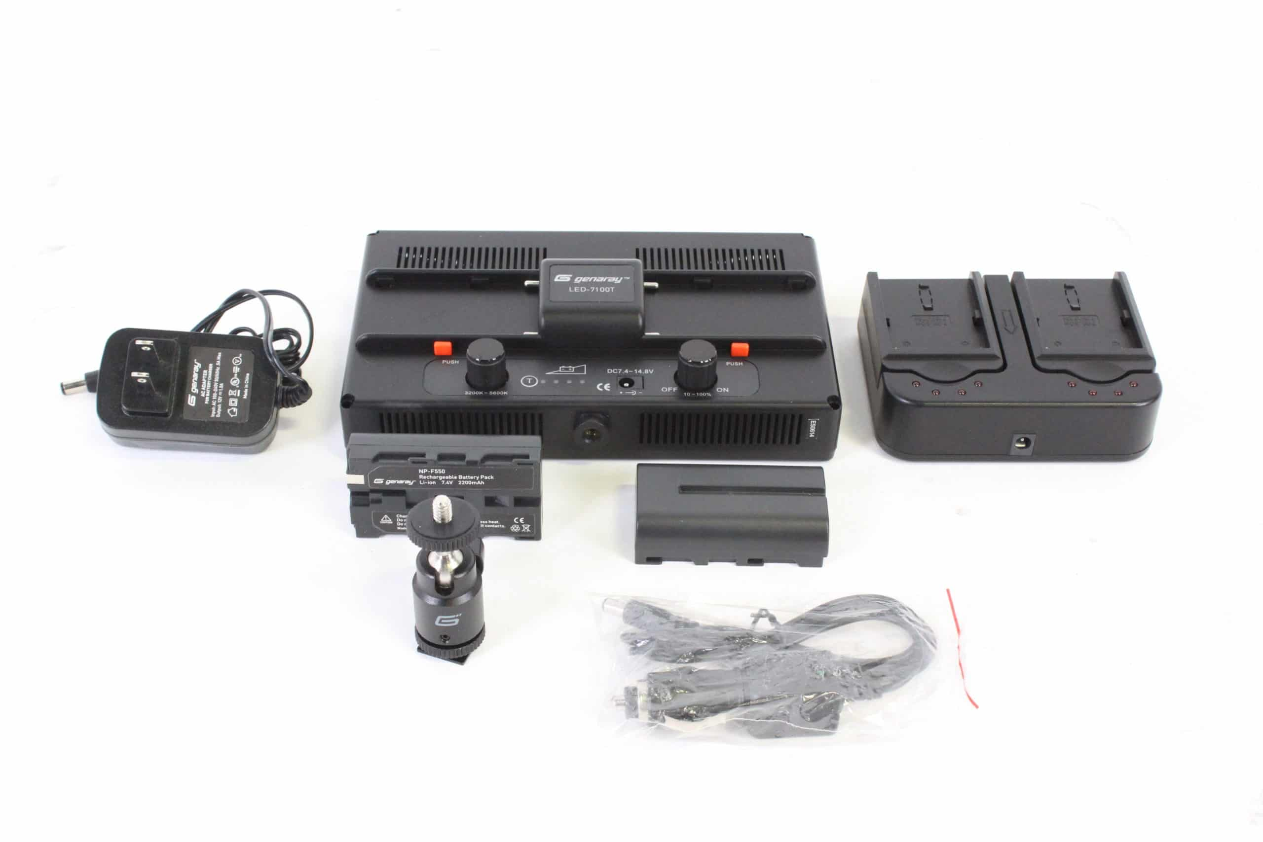 genaray-led-7100t-312-led-variable-color-on-camera-light-kit-w-2-np-f550-rechargeable-batteries-dual-battery-charger main