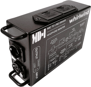 Whirlwind Mic_line Driver - w_headphone monitor 9V battery operated MD-1